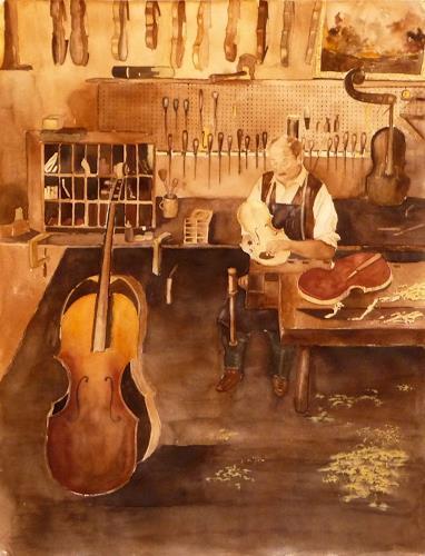 Philippin, Inge, Geigenbauer-Werkstatt, Arbeitswelt, Musik: Instrument, Gegenwartskunst, Expressionismus