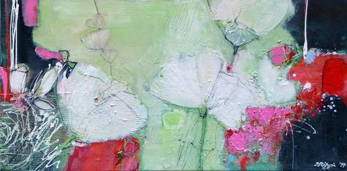 Philippin, Inge, White Flowers 2, Pflanzen: Blumen, Wohnen: Garten, Gegenwartskunst, Expressionismus