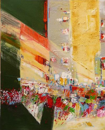 Philippin, Inge, Big Apple 1, Bauten: Hochhaus, Menschen: Gruppe, Gegenwartskunst, Abstrakter Expressionismus