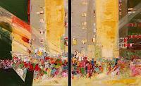 Philippin--Inge-Menschen-Gruppe-Bauten-Hochhaus-Moderne-Expressionismus