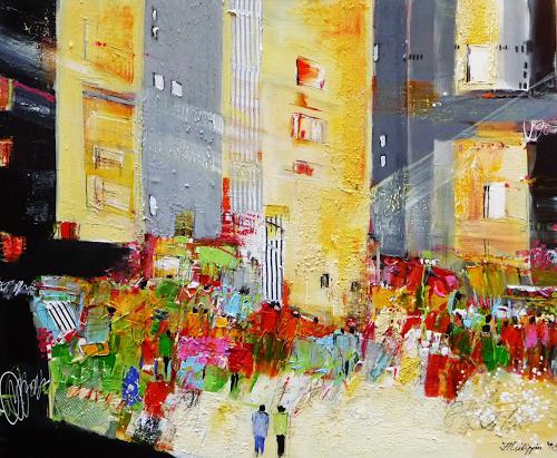 Philippin, Inge, City Lights, Bauten: Hochhaus, Menschen: Gruppe, Gegenwartskunst