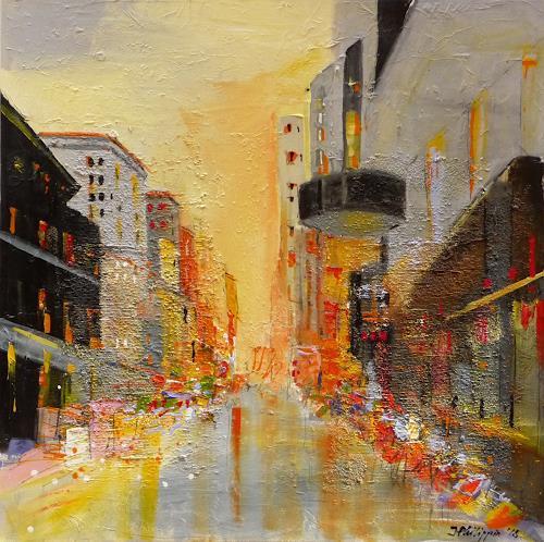 Philippin, Inge, Colorful City, Menschen: Gruppe, Bauten: Hochhaus, Gegenwartskunst, Expressionismus