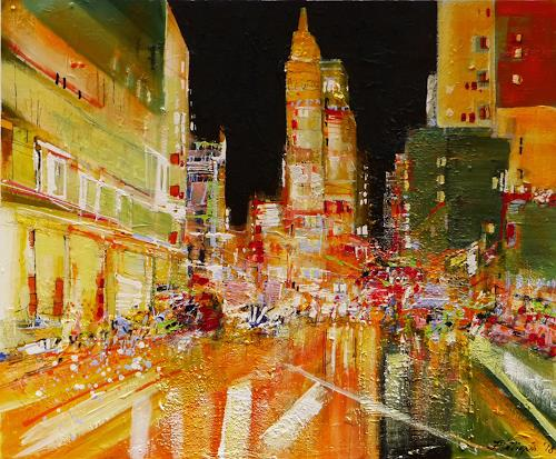 Philippin, Inge, Times Square at Night, Menschen: Gruppe, Bauten: Hochhaus, Gegenwartskunst