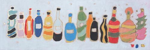 Heide Scheerschmidt - Atelier Leykauf, Schlagzeile 1 - Flaschen - aus Serie Tagebuch Seite 7, Gefühle: Geborgenheit, Geschichte, Gegenwartskunst