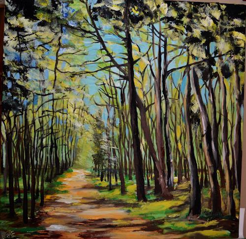 Yakuba Elena, In jungem Wald, Landschaft: Frühling, Pflanzen: Bäume, Naturalismus, Expressionismus