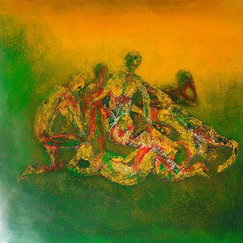Pavel Hulka, Sommer 3000, Gesellschaft, Diverse Menschen, Realismus, Abstrakter Expressionismus