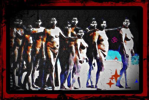 Karlheinz König, AUFSTAND DER MÄUSE, Menschen: Gruppe, Diverse Erotik, Op-Art, Abstrakter Expressionismus
