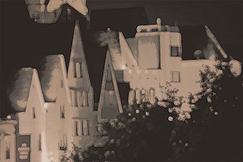 Micborn, Altstadt. Nacht, Architektur, Gegenwartskunst