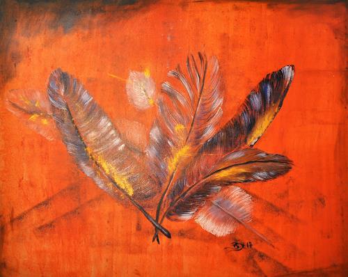 Barbara Straessle, Federn, Natur: Diverse, Tiere: Luft, Gegenwartskunst