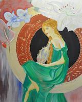 Barbara-Straessle-Menschen-Frau-Pflanzen-Blumen-Moderne-Art-Deco