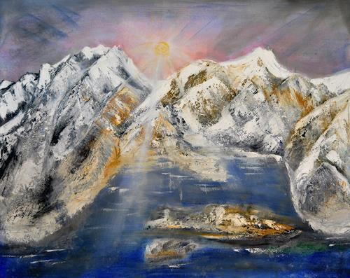 Barbara Straessle, Island von hinten, Landschaft, Natur: Gestein, Land-Art