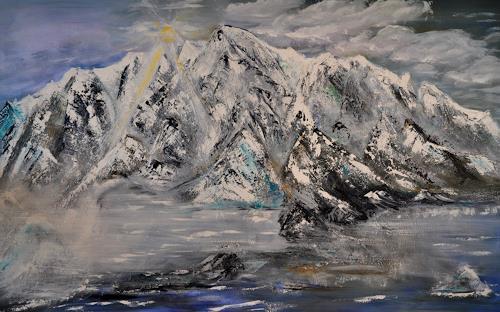 Barbara Straessle, Island von hinten, Landschaft: Berge, Natur: Gestein, Land-Art