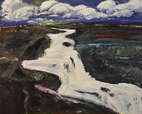 Barbara Straessle, Gulfoss, Diverse Landschaften, Natur: Diverse, Gegenwartskunst, Expressionismus