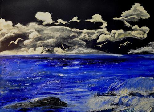 Barbara Straessle, Möwen am Strand, Landschaft: See/Meer, Tiere: Luft, Moderne