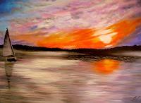 Alona-Landschaft-See-Meer-Romantik-Sonnenuntergang-Neuzeit-Realismus