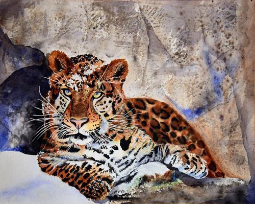 Stephanie Zobrist, Amurleopard, Tiere: Land, Zeiten: Winter, Naturalismus, Expressionismus