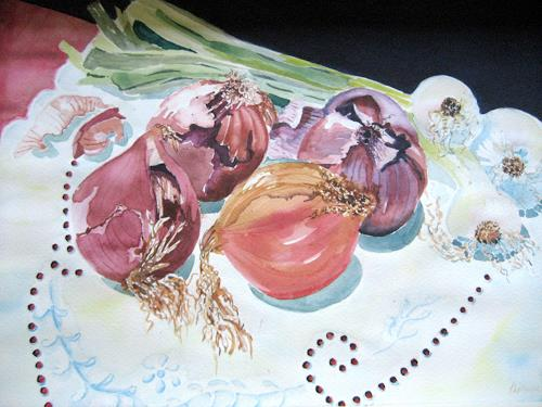 Stephanie Zobrist, Zwiebeln Stilleben, Pflanzen: Früchte, Stilleben, Naturalismus