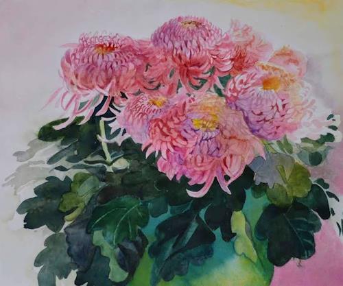 Stephanie Zobrist, Chrysanthemen, Pflanzen: Blumen, Zeiten: Herbst, Naturalismus