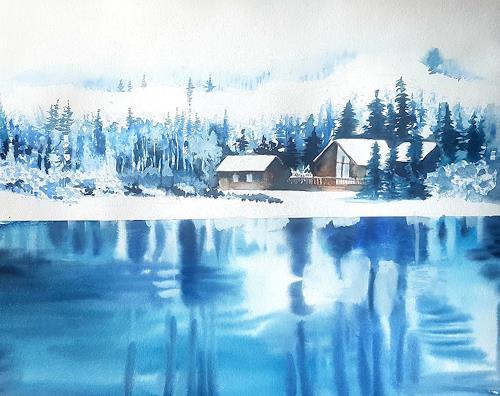 Stephanie Zobrist, Winter in Kanada, Landschaft: Winter, Natur: Wasser, Naturalismus, Expressionismus