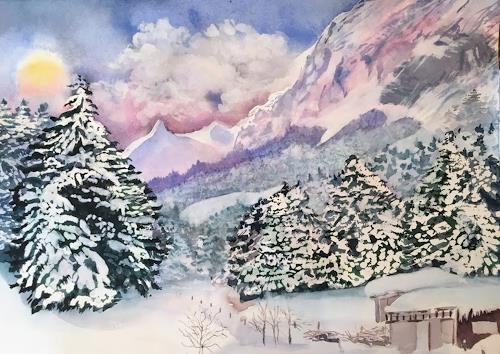 Stephanie Zobrist, Winter in der Schweiz, Landschaft: Berge, Zeiten: Winter, Naturalismus
