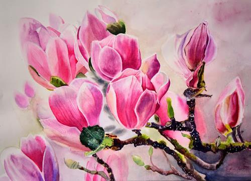 Stephanie Zobrist, Frühlingsgedanken, Pflanzen: Blumen, Dekoratives, Realismus