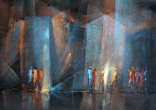 Soraya Hamzavi-Luyeh, Neugier 2, Abstraktes, Menschen: Gruppe, Abstrakte Kunst, Expressionismus
