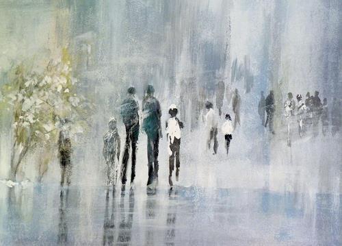 Soraya Hamzavi-Luyeh, Ein Wintertag, Menschen, Abstraktes, Abstrakte Kunst, Expressionismus