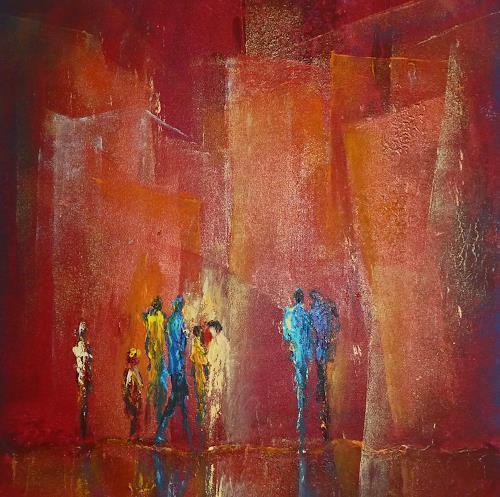 Soraya Hamzavi-Luyeh, Was ist los?, Abstraktes, Menschen: Gruppe, Moderne, Expressionismus