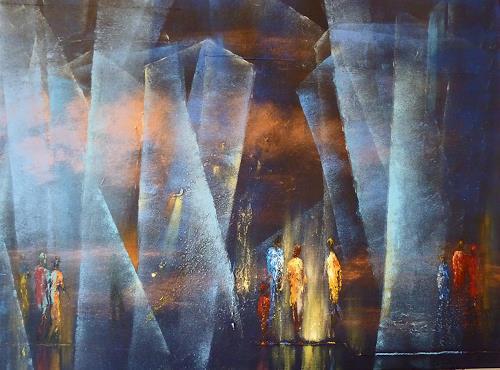 Soraya Hamzavi-Luyeh, Blaue Tiefe, Abstraktes, Gegenwartskunst
