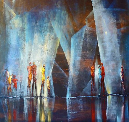Soraya Hamzavi-Luyeh, Blaue Tiefe 2, Abstraktes, Bauten: Hochhaus, Gegenwartskunst, Expressionismus