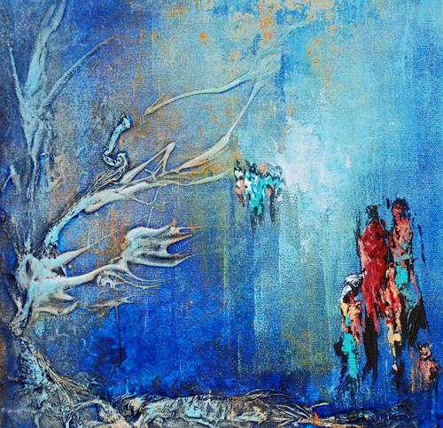 Soraya Hamzavi-Luyeh, Wintertraum, Menschen: Familie, Landschaft: Winter, Abstrakte Kunst, Expressionismus