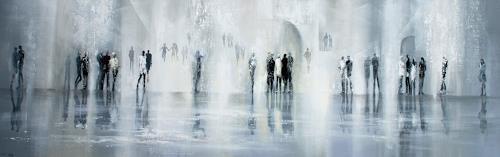 Soraya Hamzavi-Luyeh, Winterzeit, Menschen: Gruppe, Landschaft: Winter, Abstrakte Kunst, Expressionismus