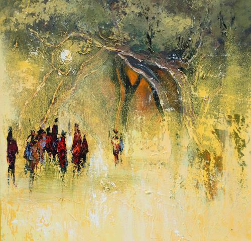 Soraya Hamzavi-Luyeh, Dämmerung, Pflanzen: Bäume, Natur: Wald, Abstrakte Kunst, Expressionismus