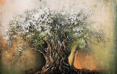 Soraya Hamzavi-Luyeh, Erster Schnee, Abstraktes, Natur: Wald, Abstrakte Kunst, Expressionismus