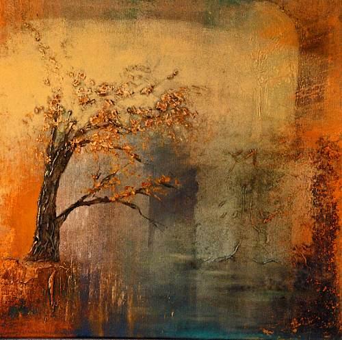 Soraya Hamzavi-Luyeh, Träumen, Landschaft: Herbst, Pflanzen: Bäume, Gegenwartskunst, Expressionismus