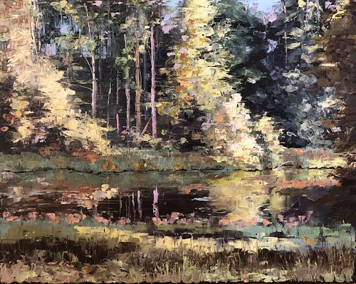 Martina Krupickova, By the River Sazava, Landschaft: Sommer, Landschaft: Ebene, Abstrakter Expressionismus, Expressionismus