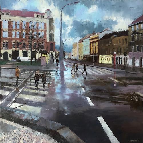 Martina Krupickova, Kinskych squere, Architektur, Verkehr, Abstrakter Expressionismus, Expressionismus