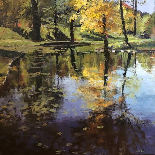 Martina Krupickova, Autumn spirit in Stromovka, Landschaft: Herbst, Diverse Landschaften, Gegenwartskunst, Expressionismus
