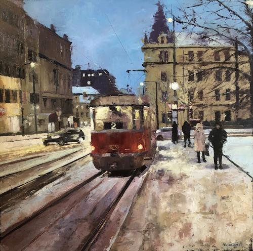Martina Krupickova, Life in Prague - reserved, Verkehr, Landschaft: Winter, Gegenwartskunst, Expressionismus