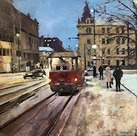 Martina-Krupickova-Verkehr-Landschaft-Winter-Gegenwartskunst-Gegenwartskunst