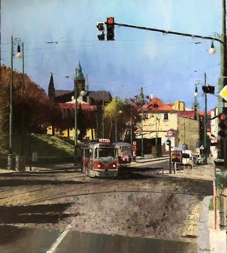 Martina Krupickova, No 22 - At Ujezd (Prague), Diverse Verkehr, Situationen, Gegenwartskunst, Expressionismus