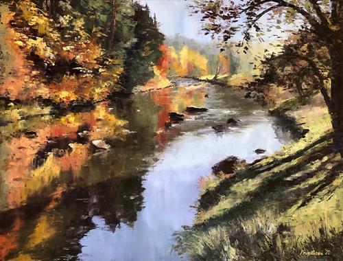 Martina Krupickova, Stvoridla, Landschaft: Herbst, Diverse Landschaften, Gegenwartskunst, Expressionismus