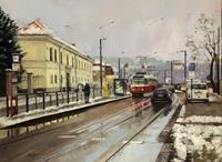 Martina-Krupickova-Landschaft-Winter-Diverse-Verkehr-Gegenwartskunst-Gegenwartskunst