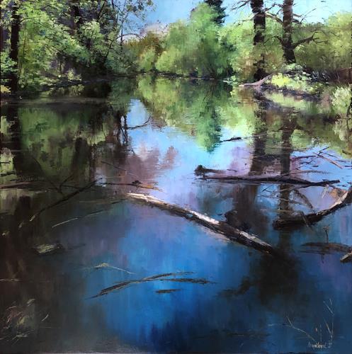 Martina Krupickova, Spring near Ostrá, Landschaft, Landschaft: Frühling, Gegenwartskunst, Expressionismus