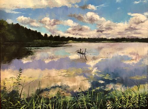 Martina Krupickova, Lake Rod in Trebon, Landschaft: Sommer, Diverse Landschaften, Gegenwartskunst, Expressionismus