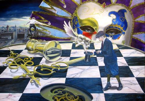 Daniel Chiriac, New York masquerade, Karneval, Surrealismus, Abstrakter Expressionismus