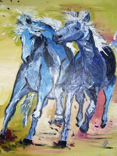 Astrid Strahm, Blaue Jungs, Tiere: Land, Gefühle: Freude, Gegenwartskunst