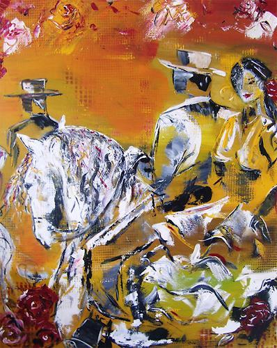 Astrid Strahm, Jerez, Tiere: Land, Party/Feier, Gegenwartskunst, Expressionismus