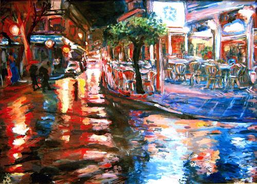 Renée König, Nerja im Regen, Markt, Diverse Romantik, Neo-Impressionismus, Expressionismus