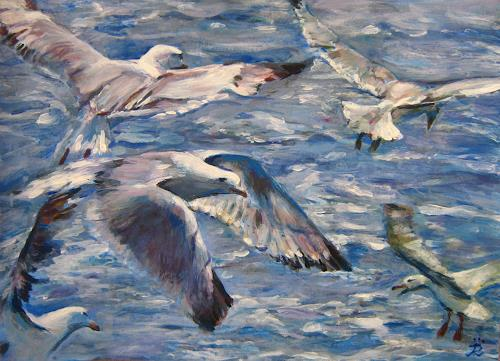 Renée König, Möwenflug, Landschaft: See/Meer, Tiere: Wasser, Neo-Impressionismus